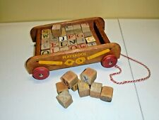 Vintage Playskool Wood Pull Wagon Toy with Old Letter Building Blocks