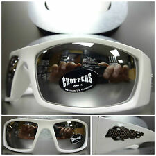 MOTORCYCLE BIKER SPORT RIDING CHOPPERS SUNGLASSES White Frame Chrome Mirror Lens
