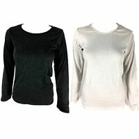 New Women's Merino Wool Top Classic Crew Neck Long Sleeve Thermal Top White/Blac
