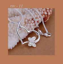 Halskette Collier Kette 925 Silber pl Geschenkidee Schmetterling Herz Geburtstag
