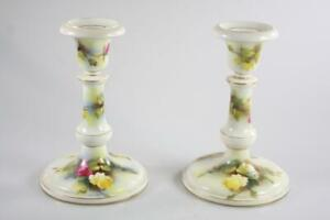 ANTIQUE ROYAL WORCESTER HAND PAINTED ROSE PATTERN CANDLE STICKS ex Sotheby