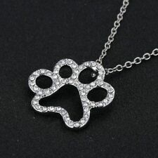 Rhinestone Crystal Silver Animal Dog Paw Footprints Pendant Necklace Chain Gift