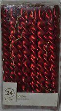 24 Glitz Satin Red Spiral Icicle Ornament~Metallic~Christmas~Tree~Holiday~NEW