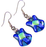 DICHROIC Glass EARRINGS Blue Teal Cobalt Green Floral Flower Dangle - Surgical