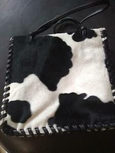 NWOT Western Pony Hair Design Handle Purse With Zippered Compartment, Polyester