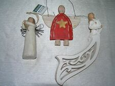 Vintage Lot of 3 Painted Carved Cream Wood Willow Tree Angel of Friendship Dog
