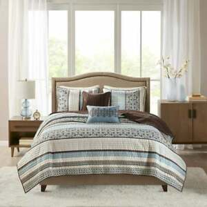 BEAUTIFUL COZY CHIC LODGE LOG CABIN BLUE WHITE BROWN GREY GEOMETRIC QUILT SET