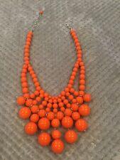 Large Orange Bubble Bead Statement Necklace
