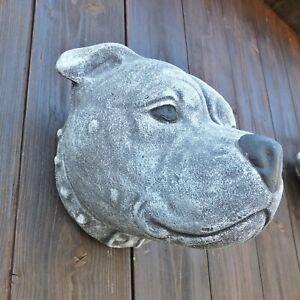 Steinfigur Rottweiler Gesicht Frostfest Steinguss Hund STAFFORD