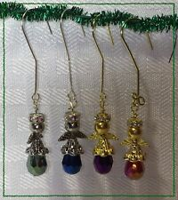 Handcrafted Gold And Silver Miniature Christmas Angels Made With Swarovski