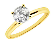 Ladies 14K Yellow Gold Prong Round Real Diamond Solitaire Engagement Ring 1.25ct