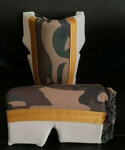 White And Camouflage Wrestling Knee Pads with Gold Trim