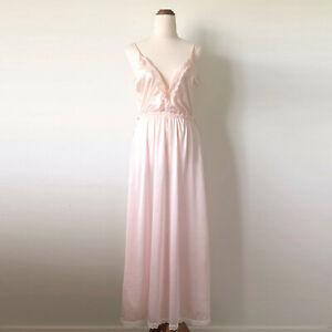 Vintage JULIET MELBOURNE Peach Pink Satin Lace Maxi Nightie Slip Size 10,12,14