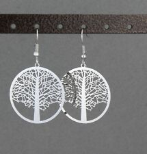 "Silver Tree of Life earrings 1 7/8"" long charm pendant symbol knowledge tree"