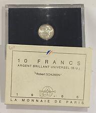 COFFRET MONNAIE DE PARIS 1986 : 10 FRANCS ROBERT SCHUMAN EN ARGENT @ BU @ NEUF !