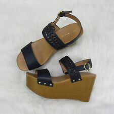 Tommy Hilfiger Black/Tan Platform Wedge Sandals - Women's 9
