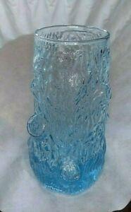 Vintage Antique Glass Blue Vase Tumbler Tree Trunk Stump Bark