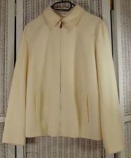 "JAEGER Vintage Wool-Angora Blazer UK12 / US10 38"" Bust Zip Front Ivory Jacket"