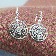 925 Sterling Silver Filigree Crystal Circle Spiral Dangling Earrings