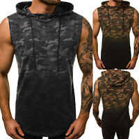 Men Casual Sleeveless Camo T-Shirt Hooded Hoodie Muscle Vest Tank Top Tee Sports