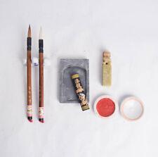 Vintage Chinese Calligraphy Writing Painting Brush Ink Stamp Seal Set Sumi Box