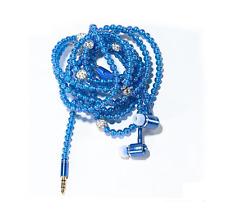 Trendy Fashion Jewelry In-ear Headphones. Quality Earphones & Microphone (Blue)