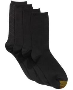 Gold Toe Women's 179797 4 Pack Textured Crew Socks Black Size 6-9