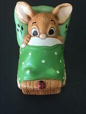 Pendelfin Rabbit Wakey Green Bedding Hand Painted Stoneware Made In England
