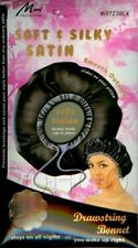 Murry Drawstring Bonnet Soft & Silky Stay On Satin Prevents Breakage M9723 BLACK
