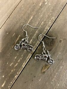 Motorcycle Charm Wire Earrings