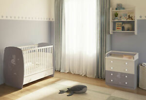 Polini kids Kinderzimmer French Amis Babybett mit Kommode in grau-weiß