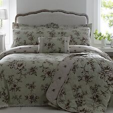 DOUBLE BED DUVET COVER VINTAGE ANTOINETTE MINT LARGE FLORAL PRINT LACE LUXURY
