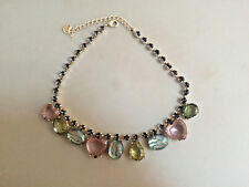 Fashion Jewelry Betsey Johnson Blue, Green & Purple (Hearts) Crystals Necklace