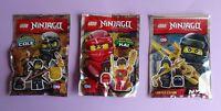 3 x Lego  NINJAGO Minifigur: KAI, COLE, NYA mit Waffen und Helm