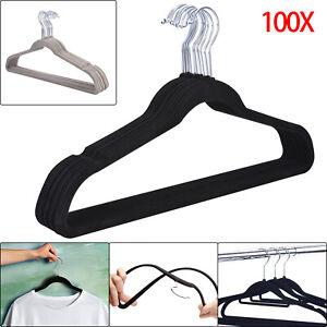100×Strong Non Slip Velvet Flocked Clothes Coat Dresses Hangers 360° Swivel Hook
