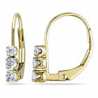 14k Yellow Gold 1/4 Ct TDW Diamond 3-stone Dangle Leverback Earrings I-J I2-I3