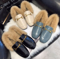 Fashion Womens Fur Boat Shoes Flat Warm Peas Shoes Driving Moccasins Loafers Sbo