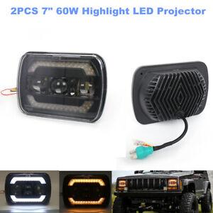 7 inch 60W Highlight LED Projector Halo Headlights Car SUV Daytime Running Lamp