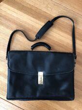 Nice Jack Georges Briefcase Messenger Lawyer Bag Black Leather Flap Combo Lock