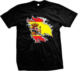 Spain Shredded Rip Through Country Flag - Spanish Pride  Mens T-shirt