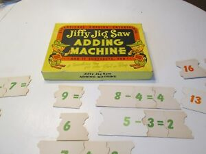 Jig Saw Puzzle In Box  Addition  Subtraction  Neat Elf Graphics Game 1950s