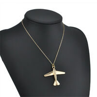 Gold European Long Sweater Chain Airplane Pendant Gold Plated Necklace Gift