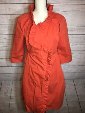 J Crew | Gayle Ruffle Trench Coat Long Orange | No Belt | Size 2