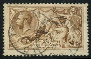 Great Britain 1915 2/6 Light Brown Seahorse Sc# 173a used