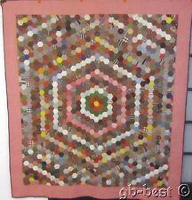 "A charmer! c 1860s Honeycomb Antique Pa Quilt Pre Civil war prints 84"" x 75"""