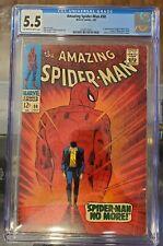 AMAZING SPIDERMAN #50 MAJOR KEY 1967 CGC 5.5 OW-WH,1ST KINGPIN,ORIGIN,J.CARSON