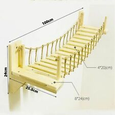 Roped Cat Bridge Climbing Frame Wall Mounted Wood Tree House Bed Sisal Scratchin