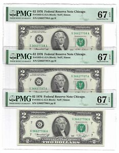 1976 $2 CHICAGO FRNs, 3 CONSECUTIVE PMG SUBERB GEM UNCIRCULATED 67 EPQ BANKNOTES