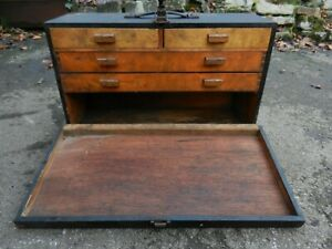 OLD/VINTAGEWOODEN TOOLBOX WITH DRAWERS INSIDE - GOOD CONDITION