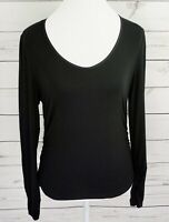 Equestrian Top Womens XL Black Solid V-Neck Long Sleeve Ruched Stretch Blouse
